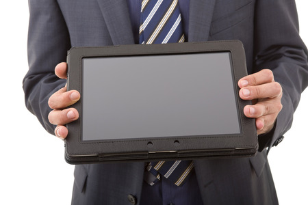 businessman showing a tablet pc, isolated photo