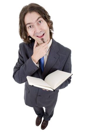 stupid body: silly businessman with a book in white background