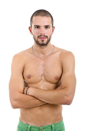 desnudo masculino: sensual hombre joven sobre un fondo blanco