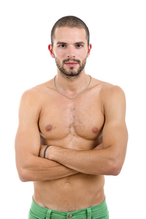 naked male body: young sensual man on a white background