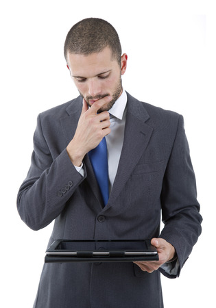 businessman using touch pad of tablet pc, isolated photo