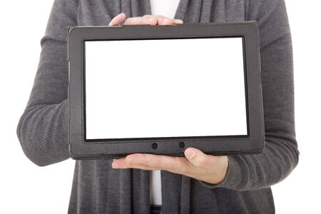 businesswoman using touch pad, close up shot on tablet pc, isolated photo
