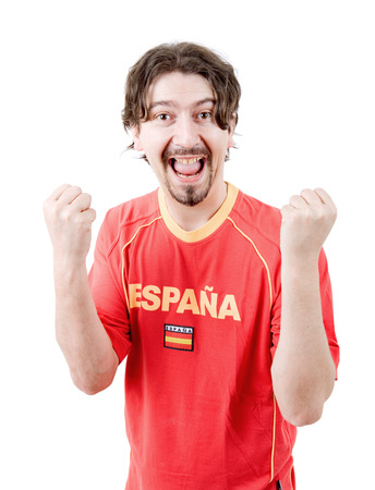 supporter: happy spanish man supporter, isolated on white