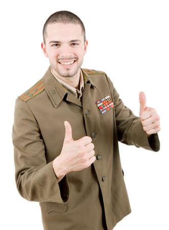 thumbsup: man dressed as russian military going thumbs up, studio Stock Photo