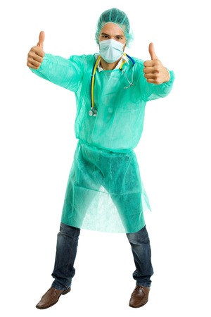 doctor full length going thumbs up, isolated photo