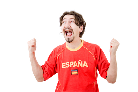 on looker: happy spanish man supporter, isolated on white