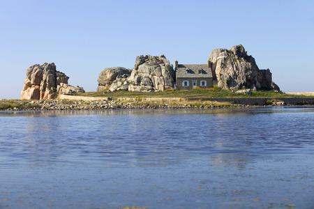 cote de granit rose: famous house on the rocks at ploumenach, cote de granit rose, cotes darmor brittany, france Stock Photo