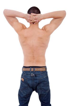 nackter junge: sinnlichen jungen Mann von hinten, isolaetd auf wei�em