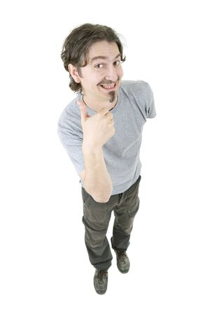 man full body: young happy casual man, full body, going thumb up, isolated