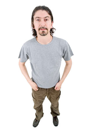 man full body: young casual man full body in a white background Stock Photo