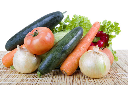 eating healthy: Fresh vegetables on wooden table Stock Photo