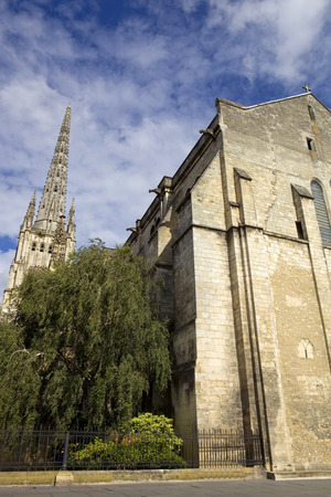 st  michel: St Michel cathedral high tower in bordeaux, france Stock Photo