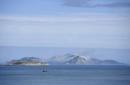 galician: View of Cies islands in spain, galician coastline