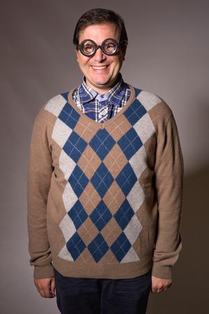 studio picture: teacher with funny glasses, studio picture