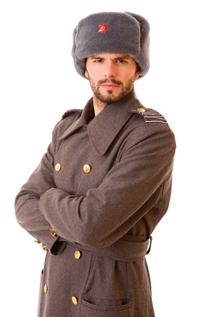 german soldier: young man dressed as russian military, studio picture