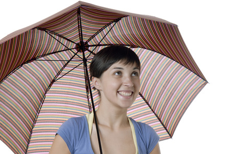 young happy brunette girl with a umbrella photo