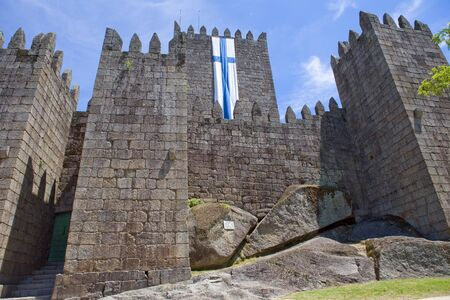 guimaraes: Guimaraes castle detail, in the north of Portugal. Stock Photo