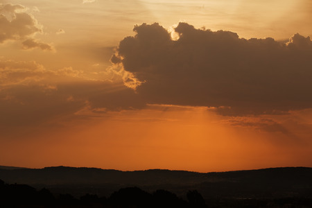 sunspot: sunset with sunrays in the north of Portugal