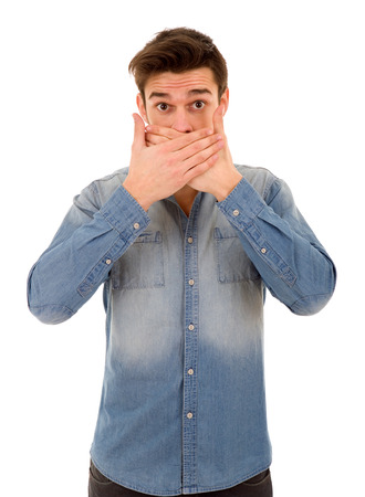humiliated: Man covering his face, isolated on white background Stock Photo