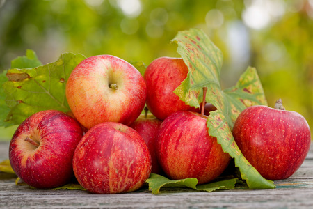 Apples on wooden table over autumn bokeh background Stock Photo