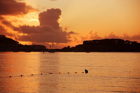 galicia: sunset from the beach of Baiona, Galicia, Spain