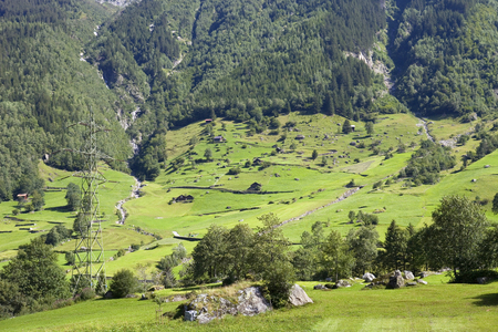 saanenland: Landscape in the swiss alps, canton berne; switzerland
