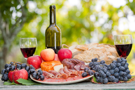 wine country: Country life setting with wine, fruits, cheese and meat. Outdoor