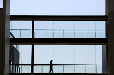 panoramic windows: Silhouette view of young businesswoman in a modern office building interior with panoramic windows.