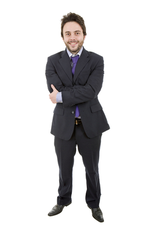 happy young businessman full length, isolated on white photo