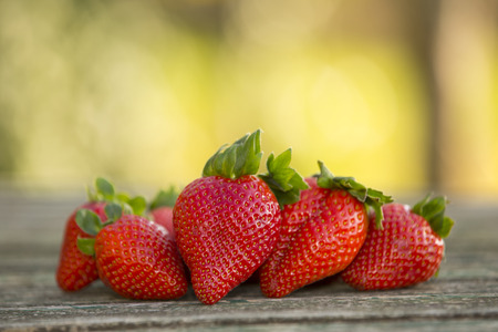 relish: strawberries on gardens table, outdoor picture Stock Photo