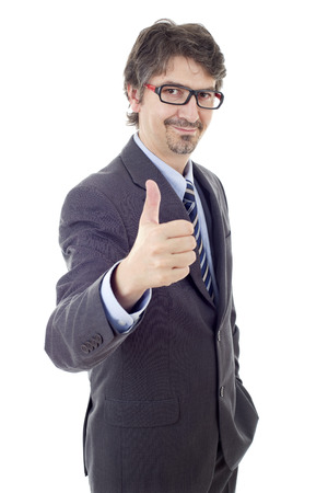 young business man going thumb up, isolated on white Stock Photo