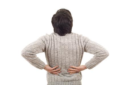 caucasian man portrait backache pain on studio isolated white background