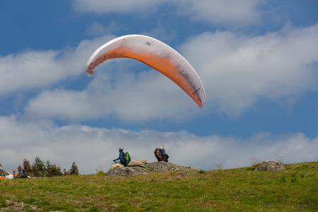 parapendio: Paragliding Festival Aboua Cup de Caldelas 2016, in the north of Portugal, Caldelas, Portugal. Editorial