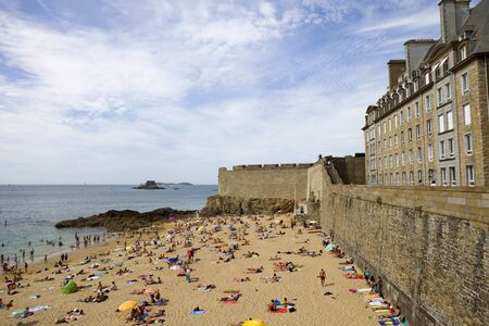 st malo: Crowded beach of St Malo in the summer, in St Malo, Brittany, France.