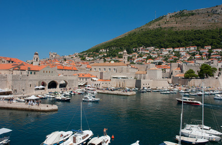 Harbour of the Old town of Dubrovnik, Croatia.