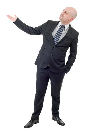 manifest: Businessman showing something, full length, isolated on white