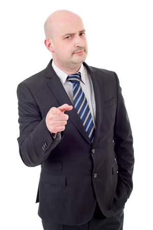 young business man pointing, isolated on white Stock Photo