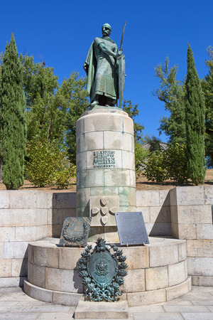 Statue of King Afonso Henriques by the Sacred Hill in the city of Guimaraes. The first king of Portugal in the 12th century.