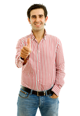 young casual man portrait in a white background photo