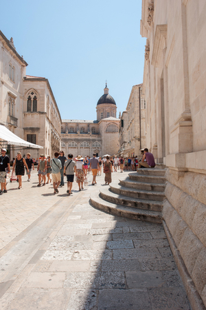 former yugoslavia: Unidentified tourists in the Old town of Dubrovnik, Croatia. Dubrovnik is a UNESCO World Heritage site