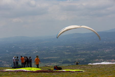 Paragliding Festival Aboua Cup de Caldelas 2016, in the north of Portugal, Portugal. Editorial