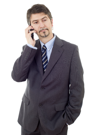 young business man on the phone, isolated Stock Photo