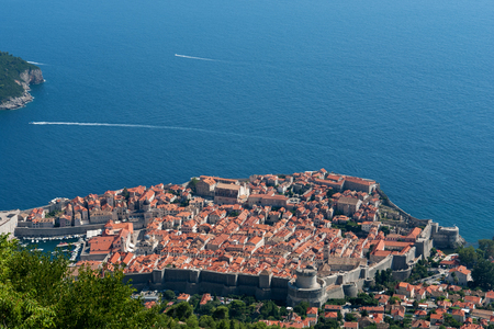 historical buildings of Dubrovnik, Croatia, view from the mountain Stock Photo