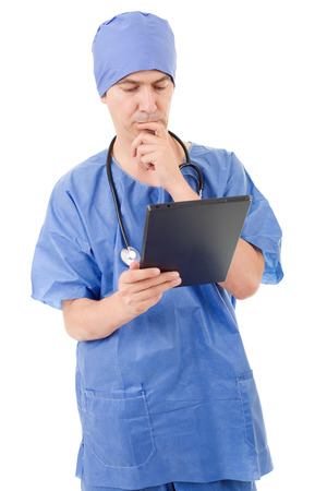 male doctor with tablet on white background