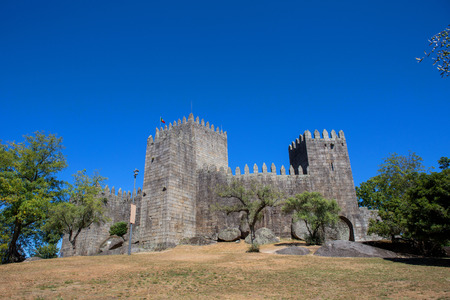 Castle of Guimaraes. The principal medieval castle in Portugal. Guimaraes, Portugal