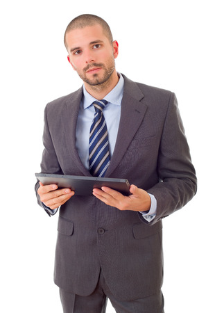 worried businessman with a tablet pc, isolated photo