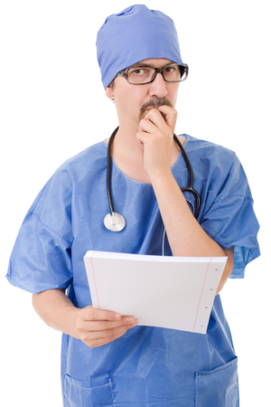 male doctor thinking, isolated over white background Stock Photo