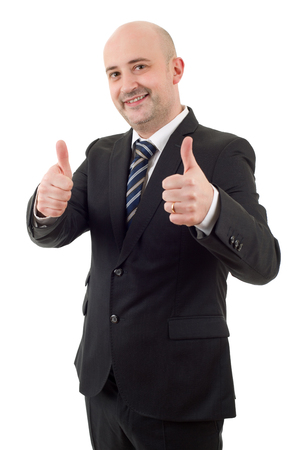happy business man going thumb up, isolated on white