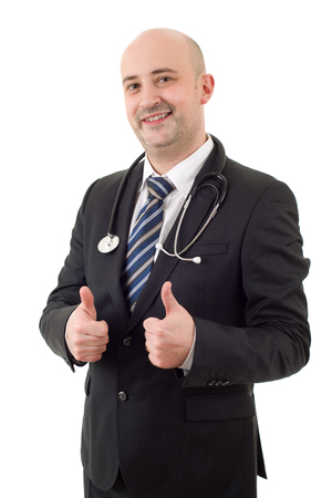 happy male doctor going thumb up, isolated on white background