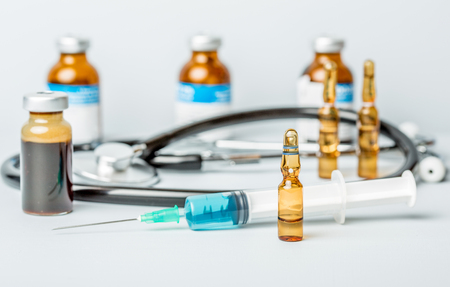 syringes with ampules of drugs Stock Photo